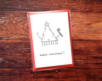Merry Christmas - Christmas tree hand drawn card