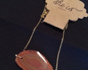Mini Agate Necklace (Burnt orange)