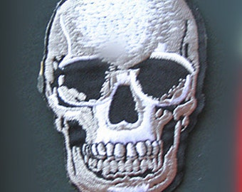 Wholesale bulk lot 60pcs  Black Punk Skull embroidered   iron  on patch  DIY 7x10cm