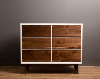White and Walnut Dresser, Modern Chest of drawers