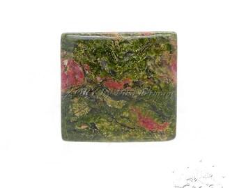 45.45Cts. Natural Unakite Jasper Cabochon, Size 25x25x5.5mm, Square Shape Cabochon, Smooth, Polished