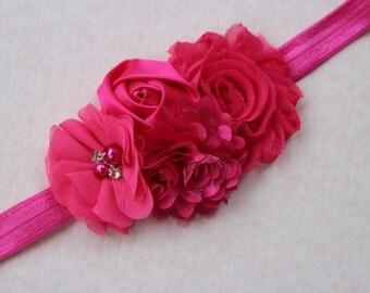 Hot pink headband baby pink headband baby gift Shabby chic headband Girl headband Infant headband lace headband photo prop