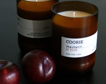 Plum Scented Soya Candle & Recycled Glass Bottle Container