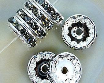 Silver Plated 8mm Crystal Rhinestone Spacer Wheel Rondelles Bead charms -beads spacers charm,  stone connectors spacers