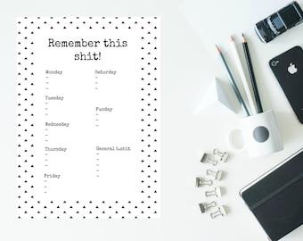 Printable weekly desk planner A5