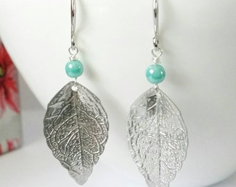 Silver leaf earrings, bohemian earrings, silver and mint earrings, silver dangle earrings, silver earrings, long silver earrings