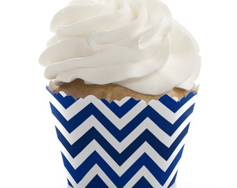 Chevron Navy Cupcake Wrappers - Baby Shower or Birthday Party Cupcake Decorations - Set of 12