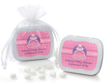 Princess Mint Tin Party Favors - Baby Shower or Birthday Party Custom Party Supplies - 12 Count