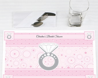 With This Ring - Personalized Placemats for Bridal Showers - Party Supplies - Set of 12
