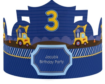 8 Custom Construction Truck Party Hats - Birthday Party Hats - Party Supplies - 8 Count
