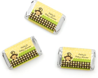 20 Monkey Mini Candy Bar Wrappers - Personalized Baby Shower and Birthday Party Supplies