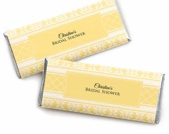 24 Damask Yellow Custom Candy Bar Wrappers - Personalized Bridal Shower Favors