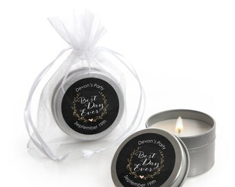 Best Day Ever Candle Tin Bridal Shower Favors  - 12 Ct.