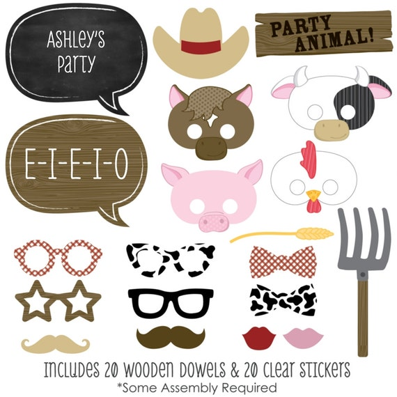20 Farm Animals Photo Booth Props Farm by BigDotOfHappiness