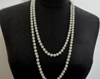 1 pc Vintage Long Strand Shell Pearl Bead Necklace 56 inch Length, 8mm diameter, best for all special occasion RS7