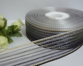"31y /28 mt Sheer Black Itermission color Mesh Ribbon Polyester Ribbon w/ Gold Metallic Line 1"" / 2.54 cm width wedding party Decoration PR64"