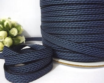 Blue Tone - Navy Blue with Smoke Blue Stripe Herringbone Ribbon Twill Tape crafts supply 3/8 inch / 1 cm width TR32