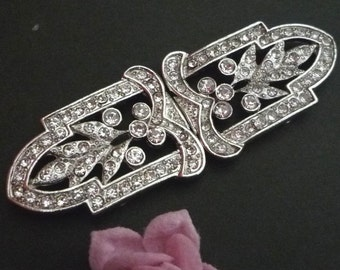 1 Pr Clear White Rhinestone  Buckle Closure Button Clasps Hooks, 3 inch / 7.6cm width - best for Evening Gown or Dress BC19