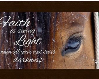 """Faith is seeing the light when you see darkness  Inspirational Religious Western Horse Framed Art 16x28"""""""