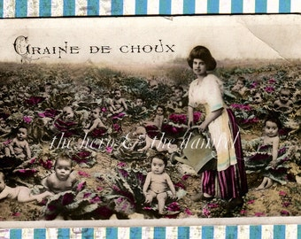 UPcYcLeD: homemade baby card with removable original antique French RPPC baby garden postcard // Made-to-order OOAK congratulations greeting