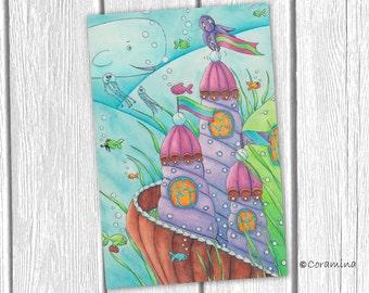"""Original illustration """"Unterwasserschloss"""""""