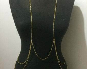 gold body chain, silver body chain, Silver Chain, gold chain, Body Necklace, Gift, Dainty Necklace