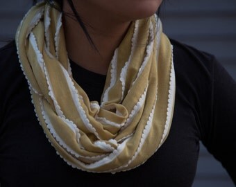 Mustard  yellow with off white scalloped edged stripped infinity scarf (cowl)