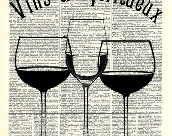 3 Wine Glasses art print. Vintage dictionary page art print. Print on book page.