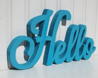 "HELLO Wood Word Sign - Handmade Wood Sign, Painted ""Hello"" sign - Made to Order"