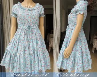 blue flower dress spring summer dress women clothing women dress short sleeve dress sweet dress cotton vintage dress girl dress