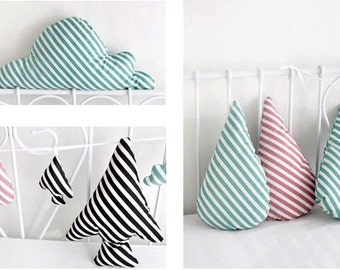 Diagonal Lines Pattern Cotton Fabric (Lollipop) by Yard - 3 Colors Selection