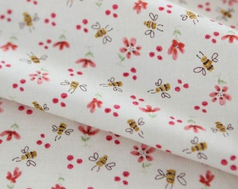 Honey Bees and Flower Pattern Cotton Fabric by Yard