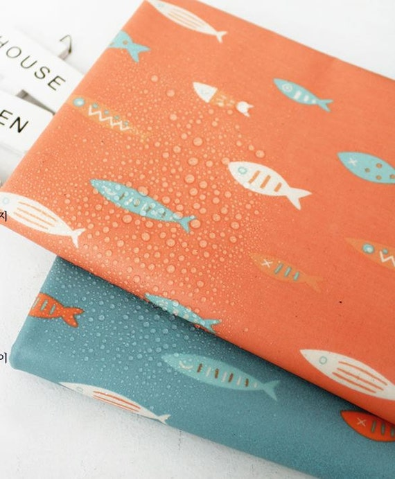 Items similar to laminated cute fish pattern cotton fabric for Fish pattern fabric