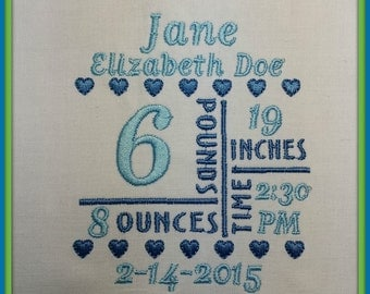 4x4 Birth Announcement Template - Machine Embroidery File Instant Download