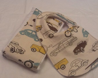 Vintage cars baby bib and burp cloth set