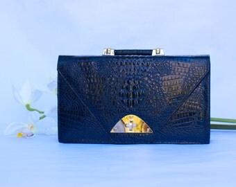Vintage Genuine Split Leather  Black Alligator Embossed clutch Briefcase Made In Korea