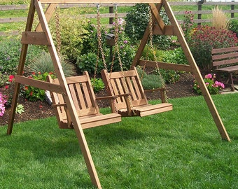 Red Cedar Traditional English Swing Chair Set