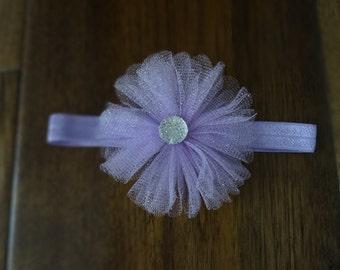 Baby Headband Purple Tule with Sparkle Gem