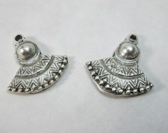 Gypsy, Boho, Tribal Silver Earring Fan Drops or Charms, 25mm