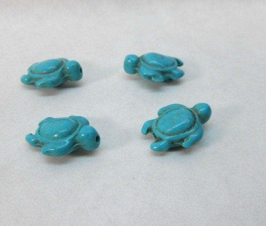 blue sea turtle magnesite bead 18x15mm 4