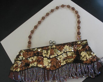 Gorgeous Vintage Silk Purse Accented With Gold And Brown Sequins