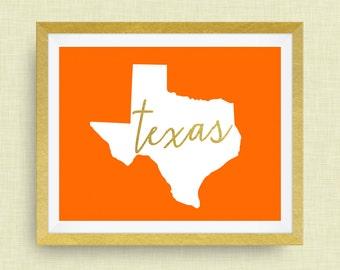 Texas Art Print, option of Gold Foil Lettering
