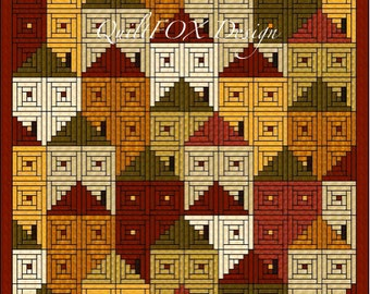 """Log Cabin Houses Quilt Pattern - Twin size: 75"""" x 89"""""""