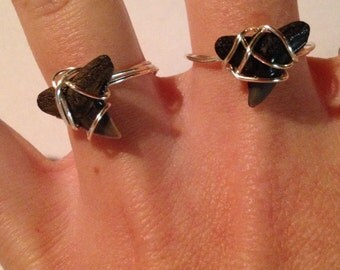 Wire Wrapped Shark Tooth Ring - shark tooth jewelry - homemade jewelry - homemade ring - wire wrapped ring - silver ring