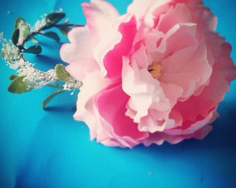 Pink flower Crown white and pink flower crown Wedding crown Floral headband fairy crown Wedding Crown Coachella headband