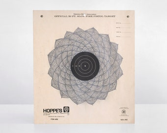 original pencil drawing, target drawing, vintage target, shooting target, graphite drawing