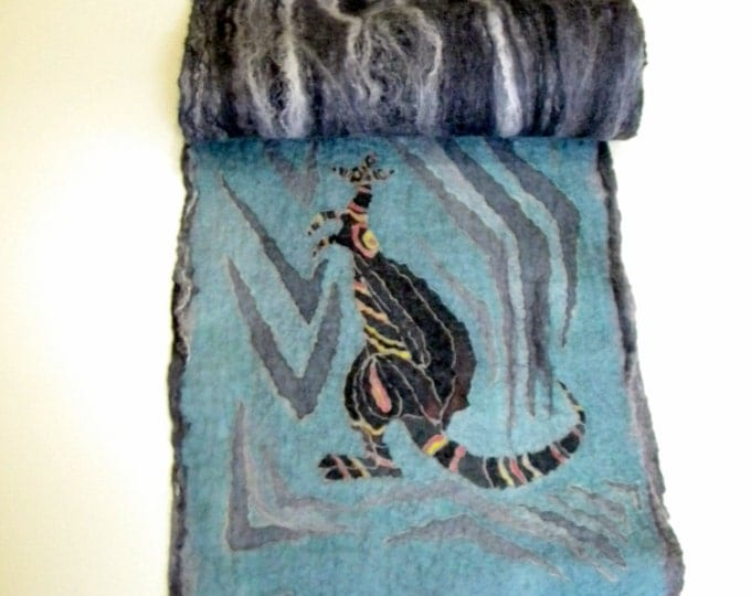 Kangaroo scarf Wet felted scarf Handpainted silk Nunofelt scarves Merino wool scarf Grey long scarf Gift for him Winter scarf