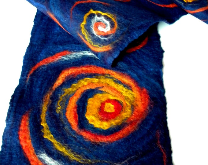 Blue Felted scarf Van gogh starry night art Felt scarves Wool scarf warm scarf merino wool scarf Wearable art Unisex scarf Valentine's Day
