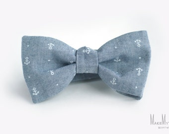 Gray - Blue White Anchors Bow Tie  / anchors bow tie / cotton bow tie / anchor bow tie / anchor bowtie / anchor necktie