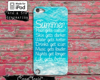 Summer Quote Blue Ocean Tumblr Inspired Cute Case iPod Touch 4th Generation or iPod Touch 5th Generation or iPod Touch 6th Generation Rubber